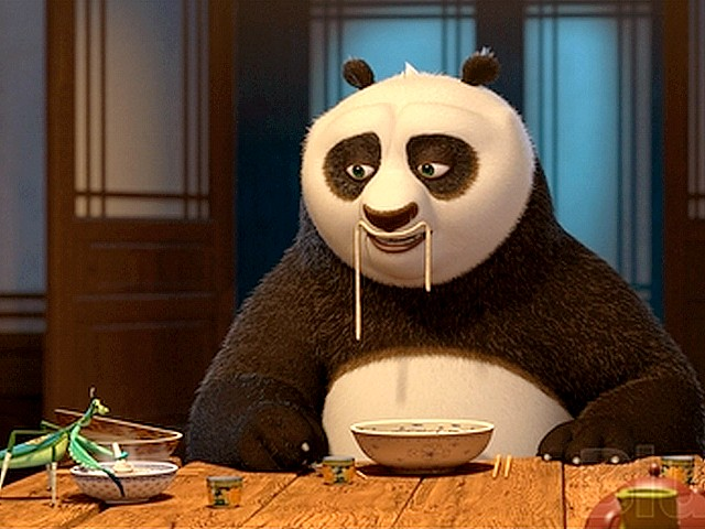 Kung Fu Panda Eating Quaking Palm  from the live