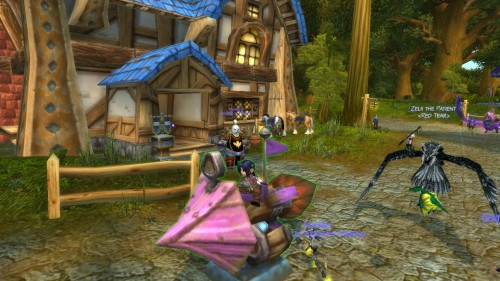 Riding her prizes in Goldshire.